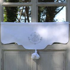 Valance Monogram embroidered custom-made French by CosyDeco Linen Curtains, Drapery, Window Coverings, Window Treatments, Rideaux Shabby Chic, Petunia, Window Dressings, Milk Paint, Valance