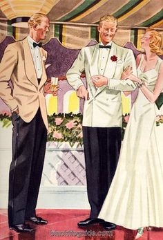 Other than the jacket itself, most details of black-tie dressing in warm weather remain the same as with the standard code. 1940s Mens Fashion, Vintage Fashion, Men's Fashion, Mode Vintage, Vintage Men, Americana Vintage, Old School Fashion, Stylish Men, Black Tie
