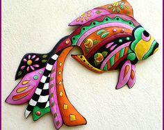 Painted Metal Art, Tropical Fish Wall Hanging, Garden Decor, Garden Art, Tropical Art - Outdoor Metal Wall Art, Patio Decor - J-451-PK