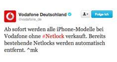 Endlich: Vodafone entfernt iPhone 5s Netlock!  - http://apfeleimer.de/2014/01/endlich-vodafone-entfernt-iphone-5s-netlock - Vodafone entfernt nun endlich den Vodafone Netlock bei iPhone. Nicht nur alle neuen Apple iPhone 5s werden ab sofort ohne Vodafone Netlock ausgeliefert – auch bei allen bisher verkauften iPhone 5s wird die Netzsperre entfernt. Vodafone war der letzte deutsche Anbieter, der iPhones mit...