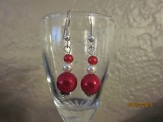 A6 Silver Red White Three Bead Earrings W/ by ParadiseKreations