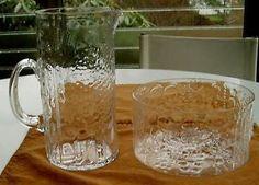 2 Mint Midcentury Modern Arabia Finland Oiva Toikka Glass Flora Pitcher & Bowl