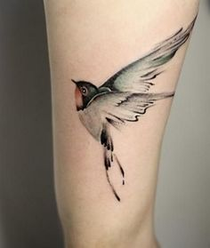 Very Beautiful Bird Tattoo Design On LegVery Beautiful Bird Tattoo Design On Leg