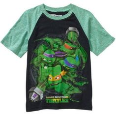 Teenage Mutant Ninja Turtles Boys' Slime Raglan Short Sleeve T-Shirt, Size: Small, Multicolor