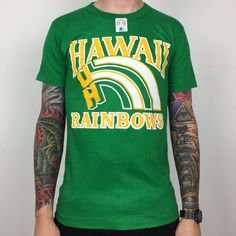 be564f56b Rare Deadstock Vintage 80s Starter NCAA UH University of Hawaii Rainbows  green single stitch college graphic tee t-shirt shirt - Size S