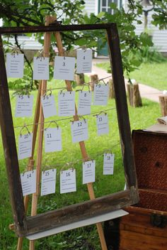 Table seating chart with old window frame worked perfect