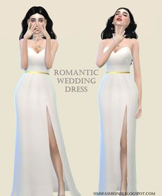 Sims Fashion01: SimsFashion01 - Wedding Dress With Gold Belt (The Sims 4)