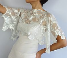 Lace Capelet Top Wear Double Sided Usage White by MammaMiaBridal, $33.00 #lace top wear #weddings #bridal capelet