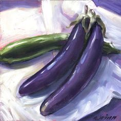 Familiarize yourself with Japanese Eggplant, no peeling and they taste the same as Italian Eggplant, and they make a stunning still life. (easel included) This Soft, Impressionistic style 6x6 oil pai