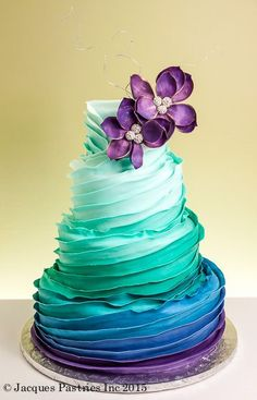 blue and green ombre  Cake decorating ideas jacquespastries.com/