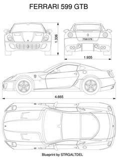 Ferrari 599 blueprint Mehr - I Love Motorrad Exotic Sports Cars, Cool Sports Cars, Sport Cars, Exotic Cars, Rc Cars, Car Design Sketch, Car Sketch, Carros Ferrari, Modelos 3d