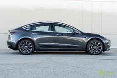 Midnight Silver Metallic Tesla Model 3 with 19 inch Metallic Gray/Grey TST Wheels by T Sportline