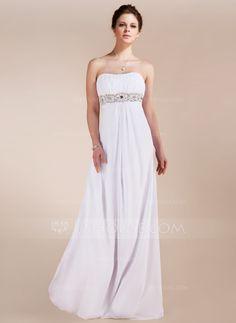 Empire Sweetheart Sweep Train Chiffon Prom Dress With Ruffle Beading (018020741) - JJsHouse