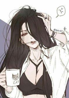 Dark Anime Girl, Manga Anime Girl, Cool Anime Girl, Art Anime, Anime Oc, Female Anime, Kawaii Anime Girl, Pretty Art, Cute Art