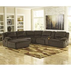 Signature Design by Ashley Toletta - Chocolate Power Reclining Sectional with Console & Left Press Back Chaise