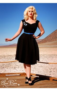 Annalise Dress in Black with Blue Swallows Embroidery - Dresses - Clothing | Pinup Girl Clothing