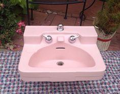 Vintage Pink Crane Drexel Bathroom Sink