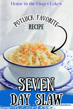 Crunchy cabbage coleslaw in a sweet and tangy vinegar dressing. Coleslaw With Vinegar Dressing, Vinegar Coleslaw, Coleslaw Mix, Summer Potluck, Picnic Foods, Side Dish Recipes, Food Dishes, Cabbage