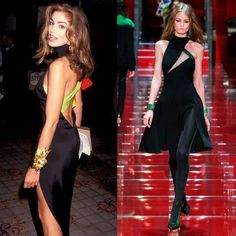 Still Chic After All These Years: Versace Then And Now | The Zoe Report Cindy Crawford in a stunning Versace gown in 1991; Versace Fall 2015.