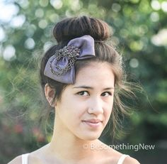 Plum bow clip with vintage broach and chain, hair accessories