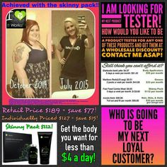 WOOHOO! ✔That's why we call it the #SkinnyPack! Her transformation is freaking amazing!! Not bad for less than $4 a day, right? 910.257.4039