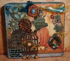 steampunk altered box - Scrap Owl