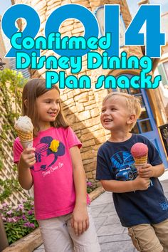 Confirmed list of Disney Dining Plan snack credits for 2014
