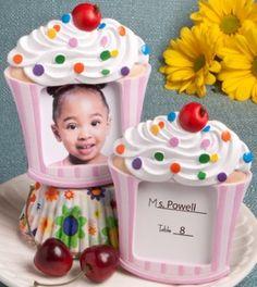Pink Cupcake Place Card Holder Frame Favors