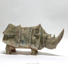 The Rhino O/ Ceramic Sculpture / Unique Figure / Unique home