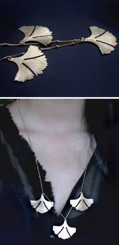 Ginkgo Leaf Necklace / BABETTEjewelry on Etsy