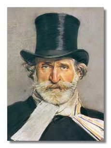Giuseppe Verdi (1813 - 1901) was born in Roncole in the former duchy of Parma, he first studied music in the neighboring town of Busseto. Then, upon being rejected in 1832, because of his age, by the Milan Conservatory, he became a pupil of the Milanese composer Vincenzo Lavigna. He returned to Busseto in 1833 as conductor of the Philharmonic Society.