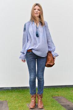 Blue Embroidered Blouse Antik Batik bag Dreyfuss and Isabel Marant Boots Caleen