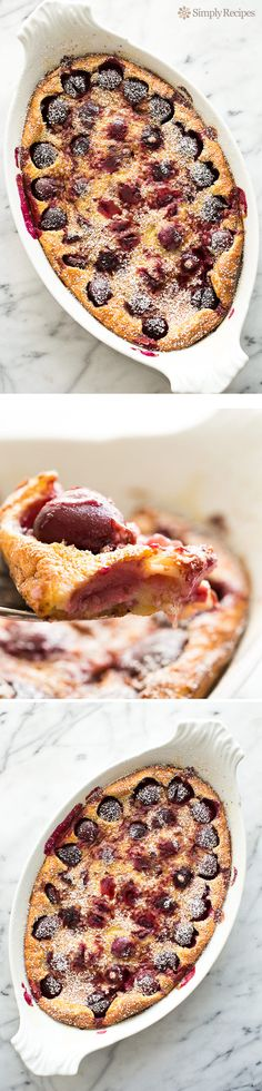Cherry Clafoutis Recipe ~ Fresh cherries baked in a custard-like base with slivered almonds, almond and vanilla extract. Lightly dusted with powdered sugar. Sweet Desserts, Just Desserts, Delicious Desserts, Dessert Recipes, Yummy Food, Cake Recipes, Dinner Recipes, Simply Recipes, Sweet Recipes