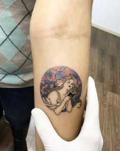 Alfons Mucha inspired circle tattoo.
