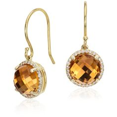Blue Nile Citrine and Diamond Halo Drop Earrings ($1,220) ❤ liked on Polyvore featuring jewelry, earrings, citrine drop earrings, cabochon jewelry, citrine earrings, 14k jewelry and 14 karat gold jewelry