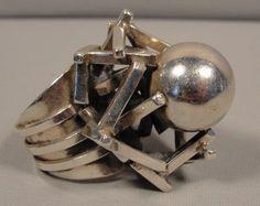 Ring | Rachel Gera.  Sterling silver.  Vintage modernist piece.