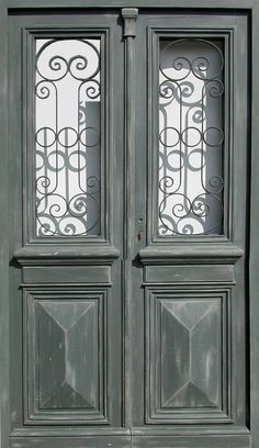 Double leaf glazed entrance door willforged iron Patina paint finish. Front doors . Portes Antiques - french manufacturer, restoring and creation