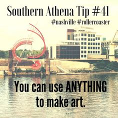 "You can use ANYTHING to make art. #southernathenatips #nashville #rollercoaster  Who remembers ""The Hangman"" at Opryland theme park?!   #artist #realestate #architecture #sculpture #history #rollercoaster #nashville #opryland #park #riverfront #fun #creativity"