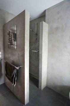 Mooie betonlook in de badkamer