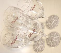 Set of 4 Snowflake Wine Glasses, Winter, Holidays, Christmas, New Year's Eve, Valentine's Day, Party, Host, Hostess, Housewarming, Newlywed Couple, Wedding, Engagement, Anniversary, Gifts, Cranberry Red, White, Gray, Personalized, Monogrammed, Dated, Custom, Painted, Stemware, Glassware, Barware by Flutterby Glass #CraftedwithPassion #flutterbyglass http://www.flutterbyglass.com
