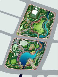建筑设计素材网---水彩手绘风格-园林景...