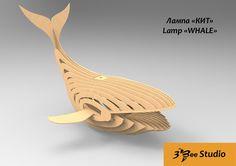 Whale lamp 3d puzzle plan dxf file
