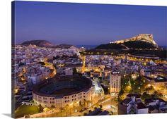 Spain, Alicante, Plaza de Toros and the Santa Barbara castle