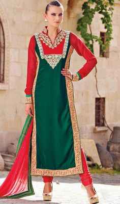 Green and Red Velvet Embroidered Long Churidar Suit Price: Usa Dollar $121, British UK Pound £71, Euro89, Canada CA$131 , Indian Rs6534.