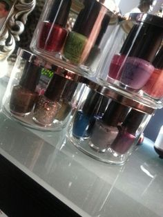 I recycled Bath & Body Works candle jars and user them to store my nail polishes...
