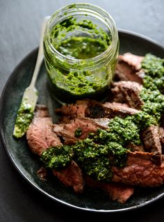 Garlic Brown Sugar Flank Steak with Chimichurri | @andwhatelse