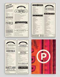typographic retro restaurant table menu design