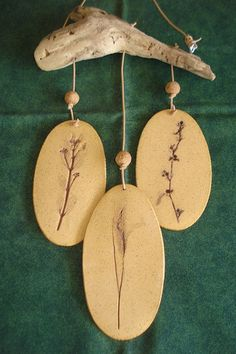 Beautiful Handmade Stoneware Weed Wind Chime