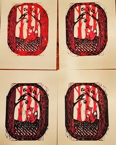 The crow and the fox two-colour linoprint Sketches, Linoprint, Drawings, Painting, Crow, Illustration Art, Ink Drawing, Art, Color