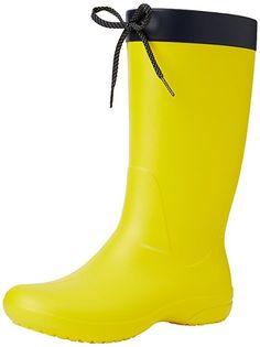 crocs Women's Freesail Rain Boot, Lemon, 7 M US: Waterproof croslite rain boot Ankle Heels, High Heels Stilettos, Crocs Boots, Baseball Shoes, Snow Boots Women, Fashion Deals, Raincoats For Women, Western Boots, Over The Knee Boots